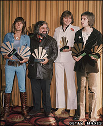 Wolfman Jack (second from left) with supergroup Emerson, Lake and Palmer in 1972
