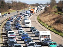 Heavy traffic on the southbound M5 near Bristol on Good Friday
