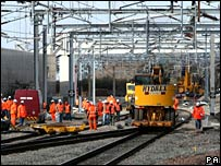 Engineers work on the tracks at Rugby station on Good Friday
