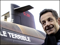 Nicolas Sarkozy in front of the submarine, the Terrible (21 March 2008)