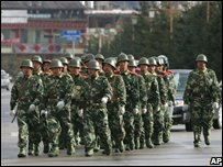 Chinese paramilitary police in Zhongdian, Yunnan province