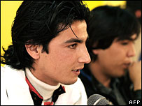 Afghan Star winner Rafi Naabzada (L) and runner-up Hameed Sakhizada in Kabul on 11 March
