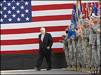 US Vice-President Dick Cheney at Balad Air Base, Iraq, 18 March 2008