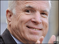 John McCain during a trip to Paris, 21 March 2008