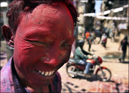 Holi, the &quot;festival of colours&quot; in  Kathmandu, Nepal, 21 March 2008