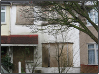 Boarded up home:  Picture courtesy of Hounslow Borough Council