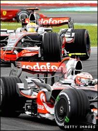 Lewis Hamilton (front) and McLaren team-mate Heikki Kovalainen