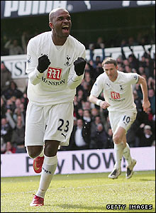 Darren Bent celebrates scoring for Spurs