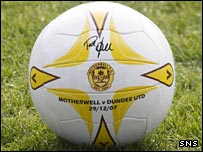 A special match ball containing Phil O'Donnell's signature