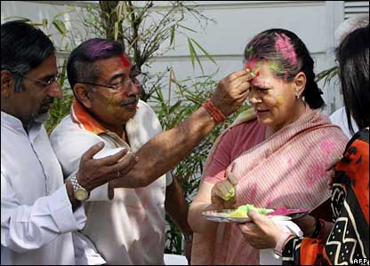 "Sonia Gandhi at Holi, the ""festival of colours"" in  Delhi, 22 Mar"