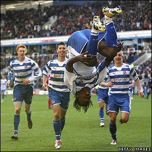 Bikey celebrates with a somersault after scoring the winner for Reading