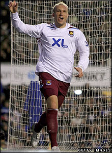 Dean Ashton celebrates scoring for West Ham