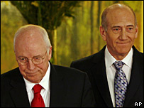 Dick Cheney (l) and Ehud Olmert (r), 22 March 2008