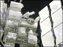 An image taken from Nasa TV show Michael Foreman leaving the international space station, 22 March 2008