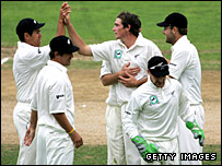 New Zealand celebrate the end of England first innings