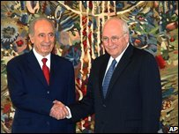 Shimon Peres and Dick Cheney