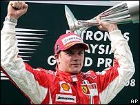 Kimi Raikkonen on the podium after winning the Australian Grand Prix