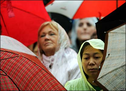 Catholics stand in rain in St Peter's Square, Rome, during the Pope's Easter service