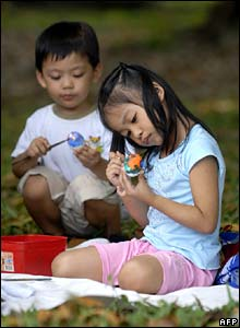 Filipino children paint Easter eggs