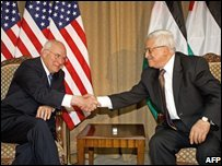 Dick Cheney and Palestinian leader Mahmoud Abbas