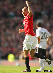 Manchester United's Wes Brown celebrates his goal