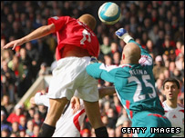Brown met Rooney's cross to score past Reina