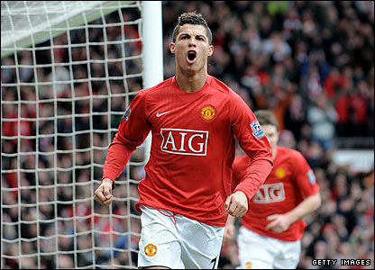 Cristiano Ronaldo celebrates scoring United's second
