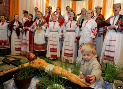 Belarus Catholics celebrate at a cathedral in Minsk