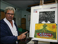 Israeli artist Dov Heller in his studio