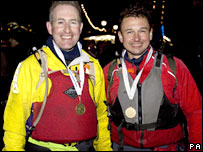 Major David Bradley, 39, (left) from Tidworth team mate Stephen Vinall (right)