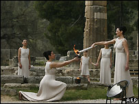 Torch lighting ceremony in Olympia, Greece - 24/03/2008