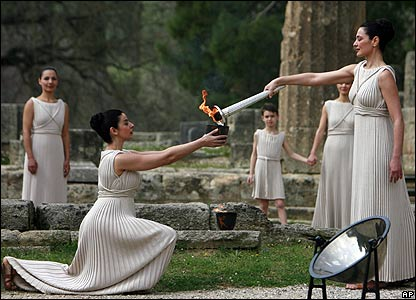 Greek actress Maria Nafpliotou passing the Olympic flame, 24 March 2008