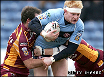 St Helens prop James Graham drives forward