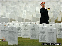 A funeral of a US soldier killed in Baghdad at Arlington National Cemetery, Virginia. File photo