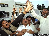 Members of the Pakistan People's Party celebrating new prime minister.