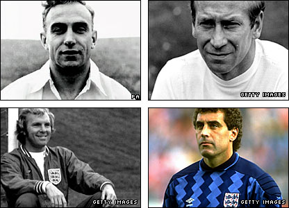 Billy Wright, Sir Bobby Charlton, Bobby Moore and Peter Shilton