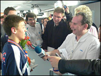Tom Daley is interviewed after winning his diving gold medal