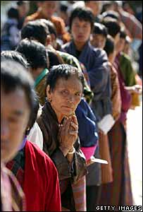 People queue to vote in Bhutan's election