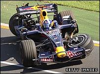 David Coulthard's broken car after it was hit by Felipe Massa's Ferrari at the Australian Grand Prix