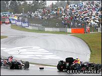 Sebastian Vettel (left) takes out Mark Webber in the 2007 Japanese Grand Prix