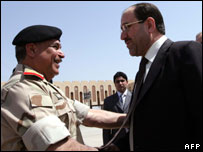 Nouri Maliki arrives in Basra on Monday 24 March 2008