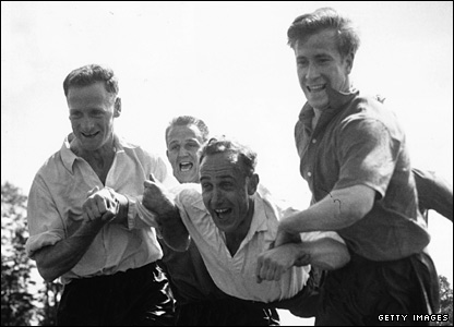 Bobby Charlton (r) larks about with Tom Finney, Maurice Setters and Billy Wright before the 1958 World Cup finals