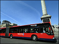 Bendy bus at Trafalgar Square