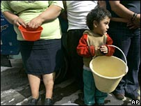 File photo of people queuing for water in Mexico City