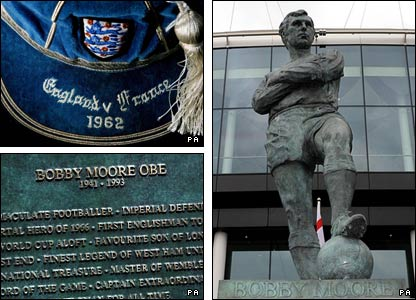 Moore's England cap against France in 1962 and the statue erected in his memory outside Wembley