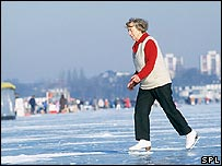 Older woman ice-skating