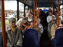 Stagecoach bus passengers in Sussex, southern England