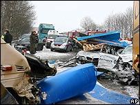 Crash scene on the A1 motorway in western Austria