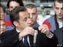 Nicolas Sarkozy in Tarbes, south-west France, 25 March