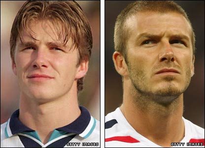 David Beckham ahead of his England 1996 and after England's Euro 2008 qualifying defeat by Croatia 2007